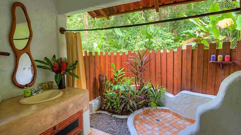 An open-air shower in the rainforest is pure luxury