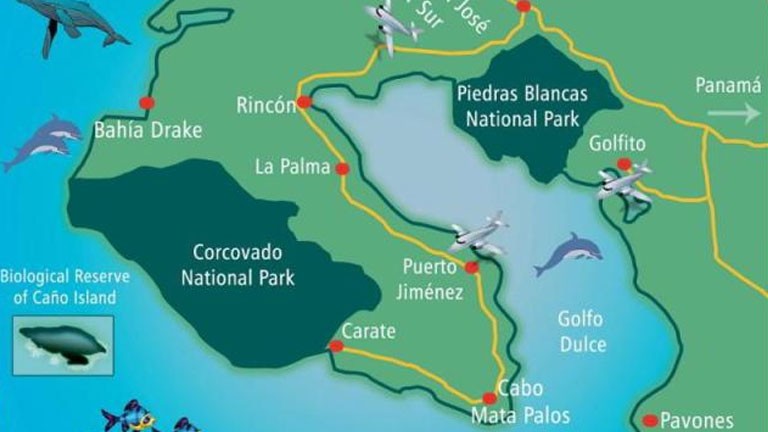 Map of southern Costa Rica, image by Ballena Tales