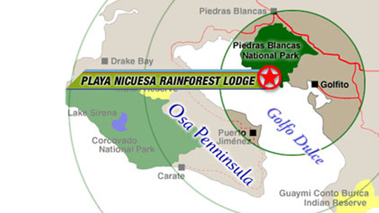 Location of Playa Nicuesa Rainforest Lodge in southern Costa Rica