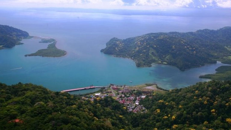 Flying over the gulf of Golfo Dulce to get to Playa Nicuesa Rainforest Lodge in southern Costa Rica