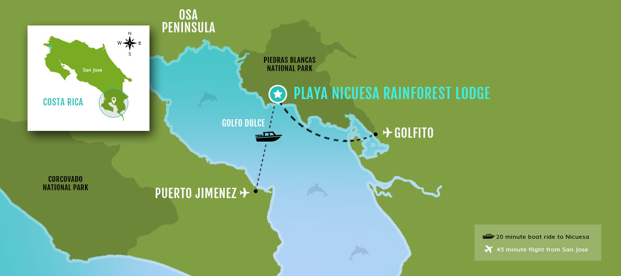 Puerto Jimenez, Osa Peninsula Hotel Location Map