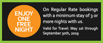Enjoy one free night on regular rate bookings of 3 or more nights.