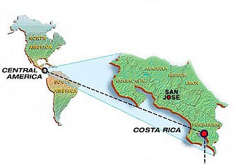 Map for Playa Nicuesa Rainforest Lodge from San Jose
